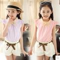 Девушки летом 2016 короткими рукавами костюм летом пункт новый Корейский Футболка из двух частей шорты девушка случайно летом dress девушка одежда