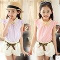 Meninas verão 2016 curto-de mangas compridas terno parágrafo verão nova t-shirt coreano two-piece calções menina verão casual dress roupas de menina