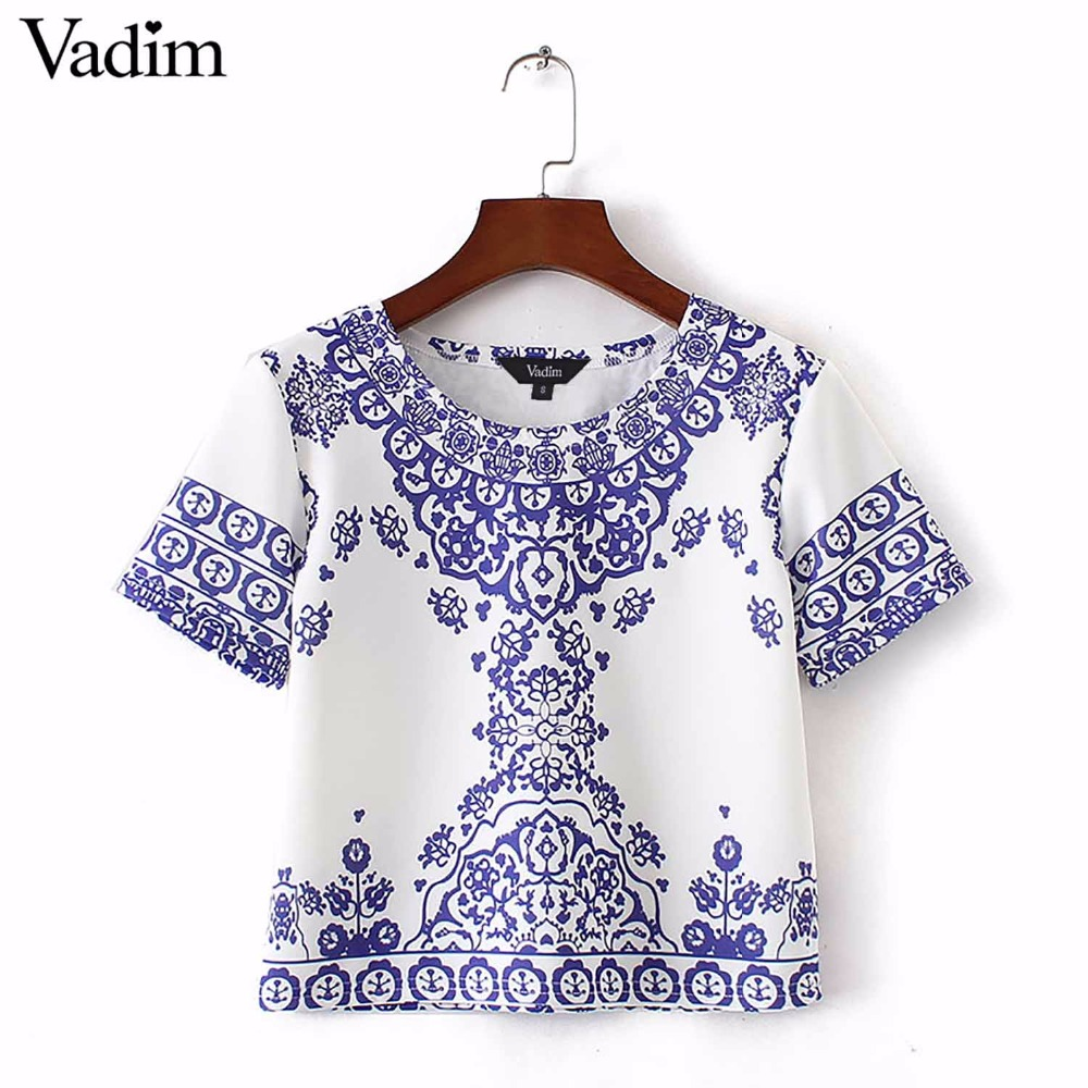 Women Porcelain Pattern Cropped T Shirt Retro Tribal Short