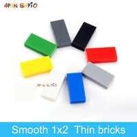 DIY Bausteine Dünne Figur Ziegel Glatte 1x2 280PCS lot 8 Farbe Pädagogisches Kreative Kompatibel Mit Legoe spielzeug für Kinder