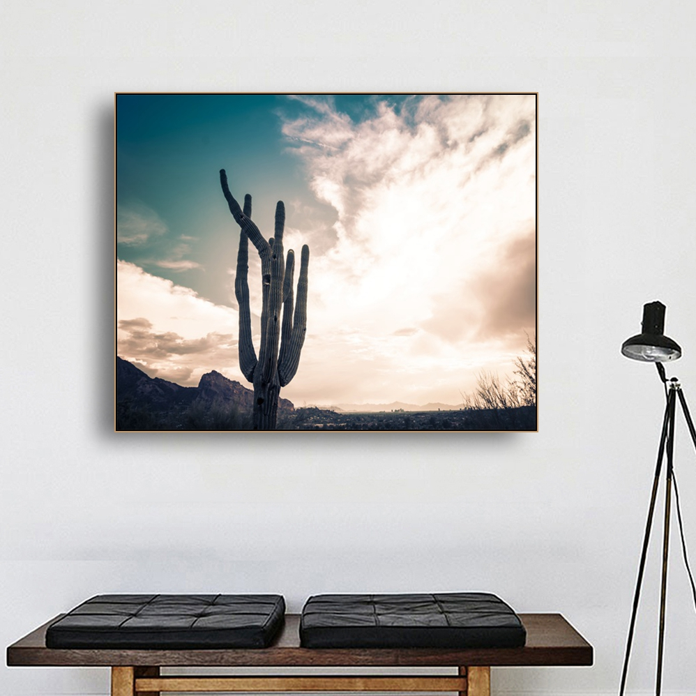 Laeacco Canvas Calligraphy Painting Cactus Tree Posters and Prints Scenery Wall Artworkwork Picture for Living Room Decor in Painting Calligraphy from Home Garden