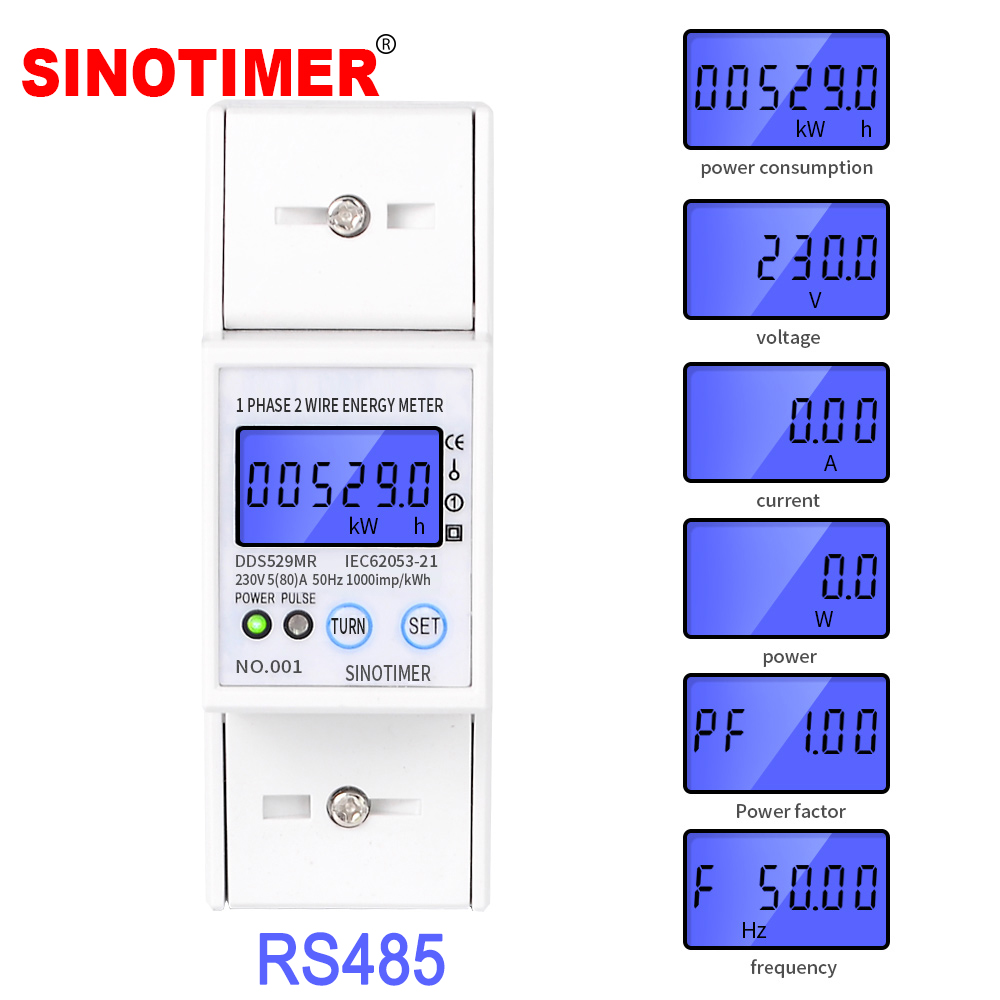 RS485 AC 230V 5-80A High Precision Electric Energy <font><b>Meter</b></font> Digital <font><b>Electricity</b></font> Consumption <font><b>Meter</b></font> With Voltage Current Display image