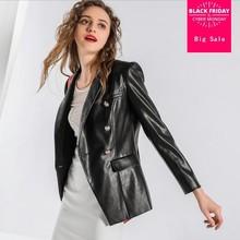 2018 automne nouvelle de femmes PU cuir manteau veste haut de gamme  tempérament de mode bouton en métal mince PU survêtement en . b1dae03b118