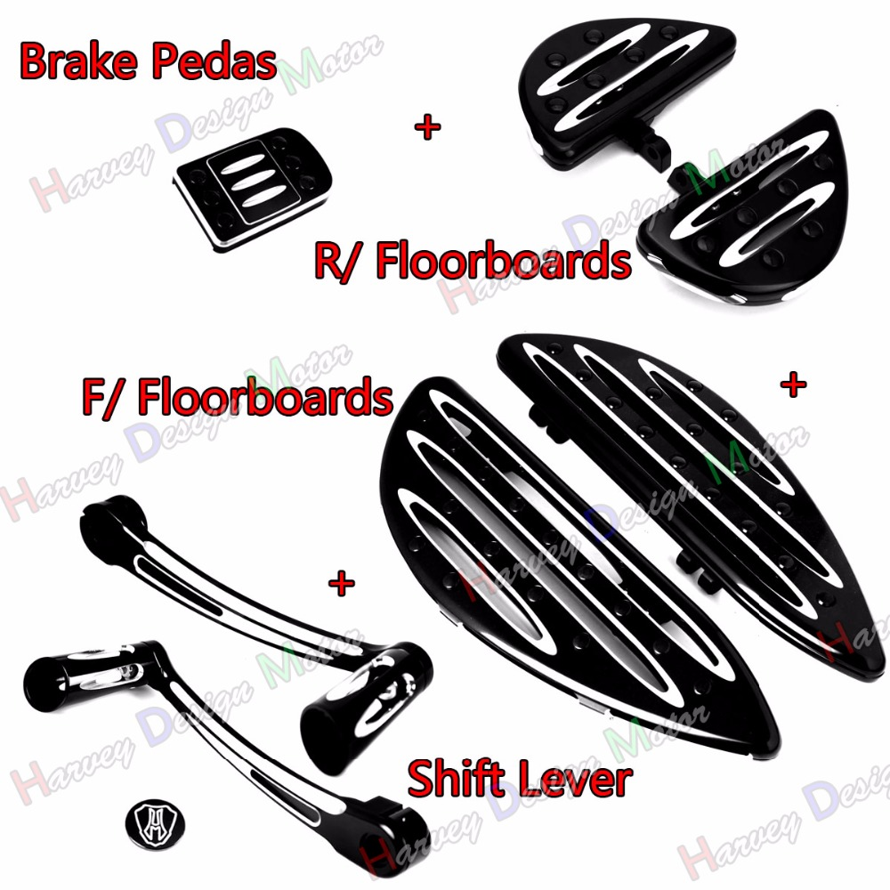 Deep Cut Heel Toe Shift Lever&F&R Driver Floorboard &Pedal For Harley Touring Street Glide Road King FLHX FLHR left rear heel shift shifter lever pedal peg for harley touring softail fl 1988
