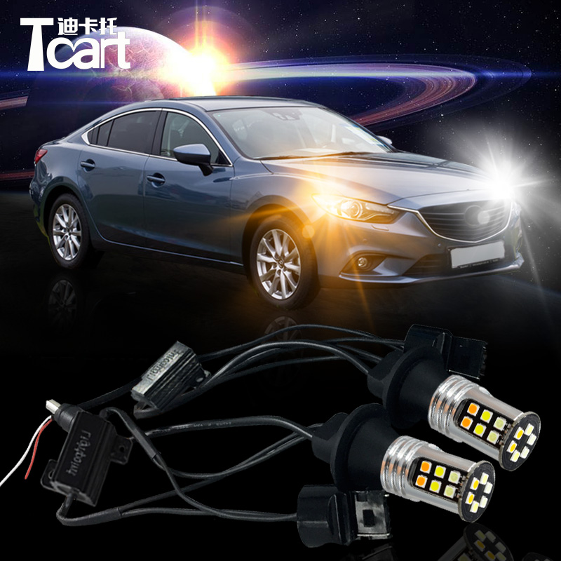 Tcart free shipping DRL for mazda 6 2013-2017 car Daytime Running Light&Turn Signal Light all in one 2013 r3 with keygen vd tcs cdp pro plus bluetooth auto diagnostic tools full all 8 car cables dhl free shipping