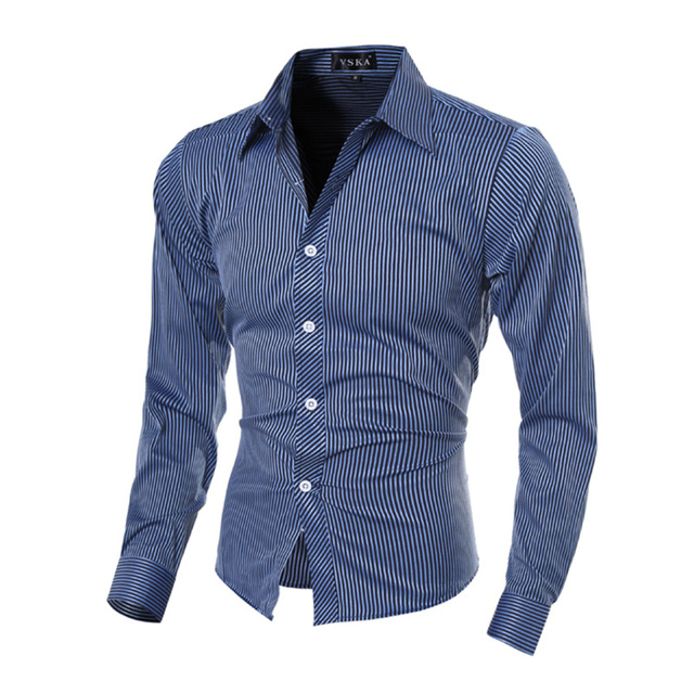66b2f1767fe Hot sale Britania style fashion desain klasik bergaris kemeja pria M-2XL  panjang lengan anak