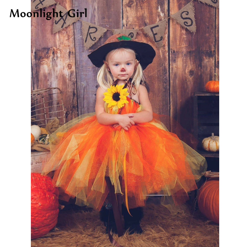 f2c2911cc65 Autumn Pumpkin Witch Girl Tutu Dress Halloween Costume For Kids Flowers  Ball Gown Party Dresses Thanksgiving