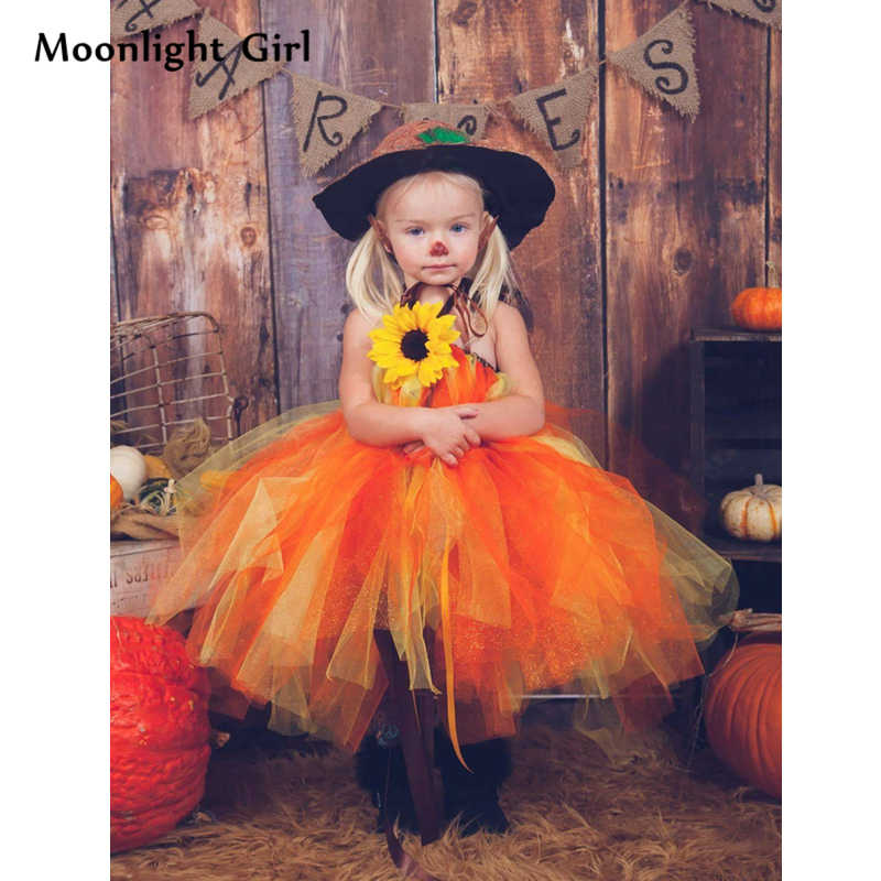e8ef42c7f9cc Autumn Pumpkin Witch Girl Tutu Dress Halloween Costume For Kids Flowers  Ball Gown Party Dresses Thanksgiving