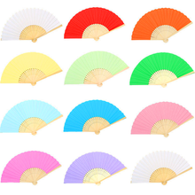 1pcs Chinese Folding Hand Held Bamboo Paper Fans Pocket Fan Background Decorations Wedding Birthday Baby Shower Party Decor(China)