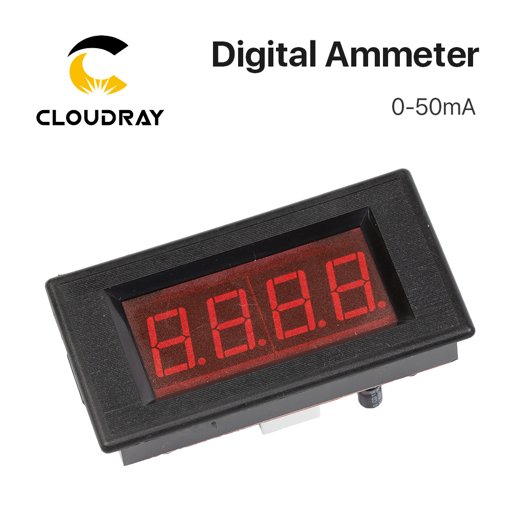 Cloudray 50mA LED Digital Ammeter DC 0-50mA  Analog Amp Panel Meter Current For CO2 Laser Engraving Cutting Machine