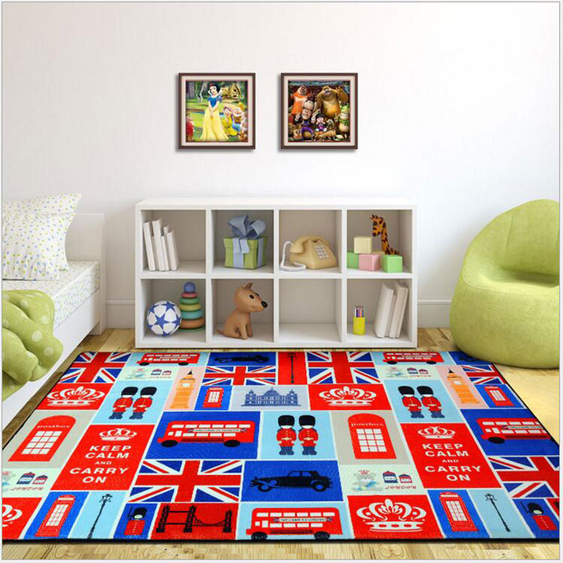 2017 New Fashion Large Creative Delicate 3D Polyester Carpet For Decorate Living Room Bedroom Kid Climb Rug Cartoon London