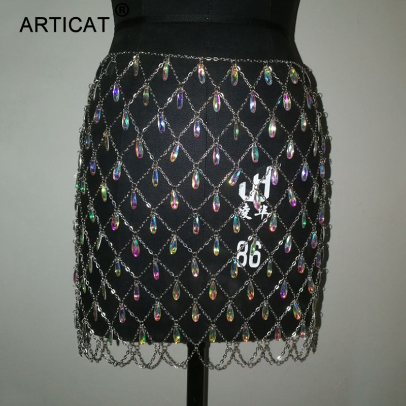 メタルグリッタークリスタルダイヤモンドスカート女性ハイウエスト中空アウトスパンコールボディコンミニスカートナイトクラブパーティースカート ARTICAT Mobile 最も安い
