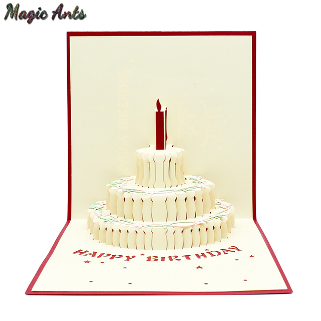2 Colors Happy Birthday Cake Candle 3D Pop UP Card With Envelope Sticker Laser Cut Invitation