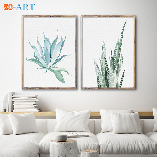Us 5 55 26 Off Succulent Watercolor Aloe Vera Sansevieria Set Of 2 Prints Art Painting Leaves Drawing Scandi Plant Minimalist Wall Art In Painting