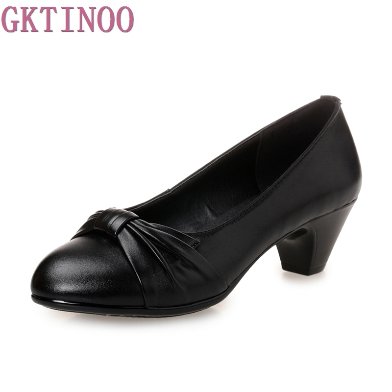 купить New Cowhide Women's High Heels Pumps Thick Heel Round Toe Genuine Leather Black Shoes for office lady Women Plus size по цене 1979.41 рублей