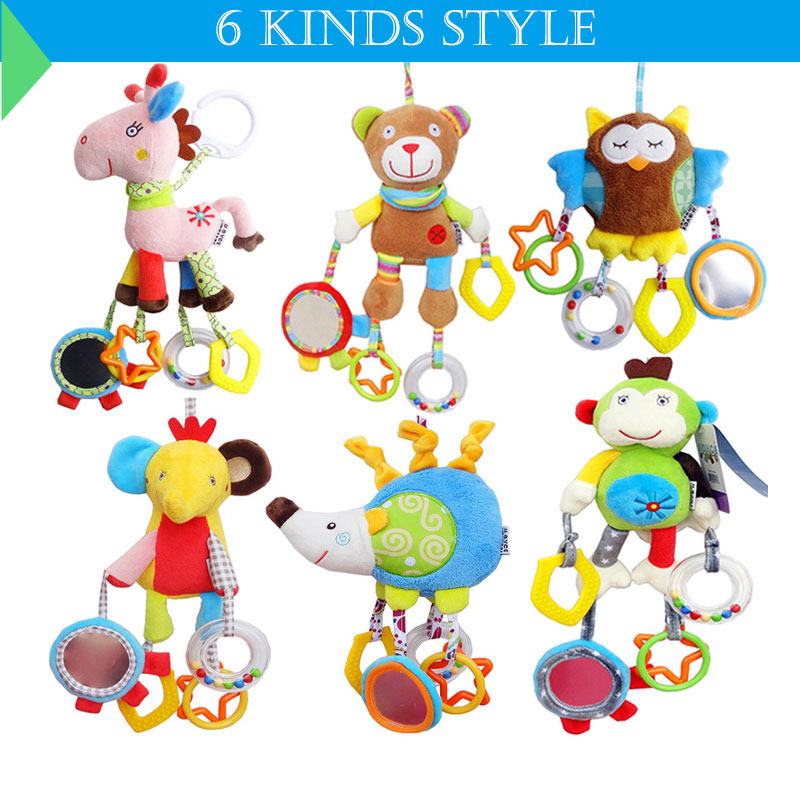 JJOVCE Baby toys bed stroller Hanging bell rattles cribs hanging toys Enlightenment education Mobile On The Bed For Newborn baby rattles bell toys mobile soft cartoon plush animal clip rattles crib bed stroller hanging dolls toys for newborn baby