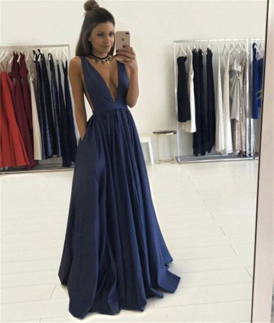d69dc236376 Sexy V Neck Satin Dark Blue Long Elegant Prom Dresses 2017 See Through Back  A-Line Evening Party Gown Evening Dress for Prom