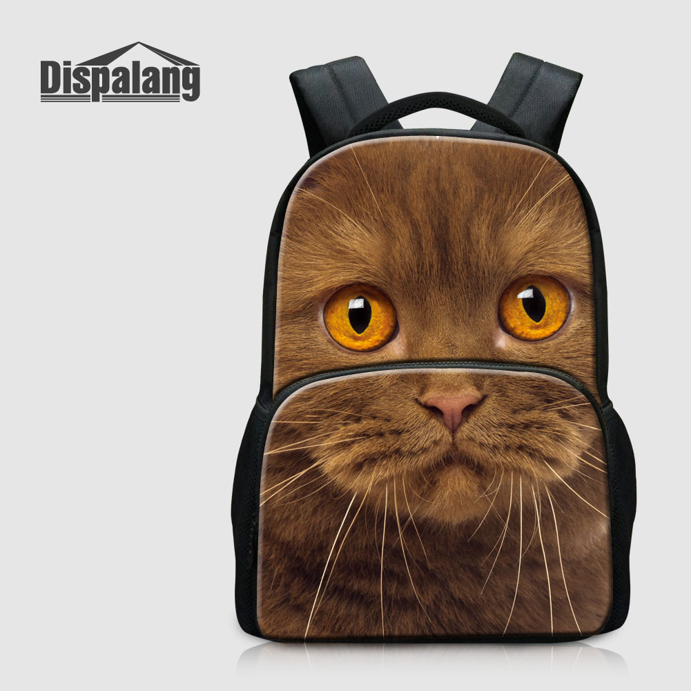 Dispalang Animal Cat Printed School Backpack For Primary Student Dog Children Schoolbags Mochila Escolar Girls Bagpack Back Pack new fashion animal school bag for boys cute dog children orthopedic school backpack for girls children mochila escolar for kids
