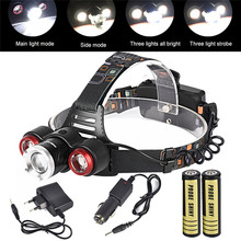 1Set Cycling Bike Head Front Light Bicycle Light Headlamp 8000Lm XML T6+2R5 3 LED Head Light Torch+Car/USB Charger+2X18650 M14
