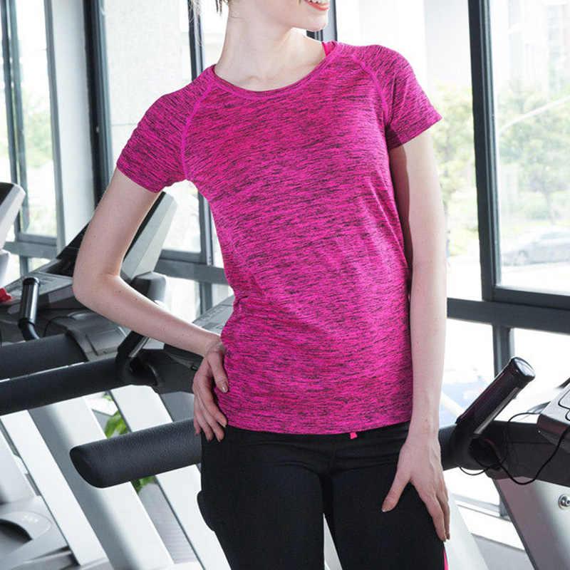 Женские рубашки для йоги, одежда для спорта, Майки для фитнеса, футболка с коротким рукавом, для спортзала, для бега тренировок, быстросохнущие футболки, женские топы для йоги