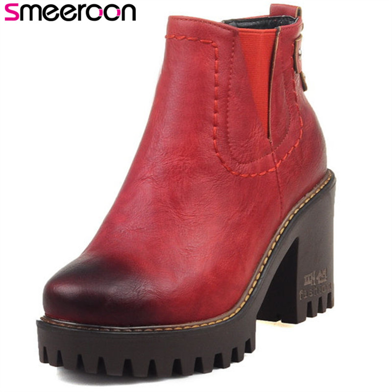 Smeeroon fashion autumn winter boots for women high heels high quality ankle boots round toe slip on+buckle pu leather bootsSmeeroon fashion autumn winter boots for women high heels high quality ankle boots round toe slip on+buckle pu leather boots