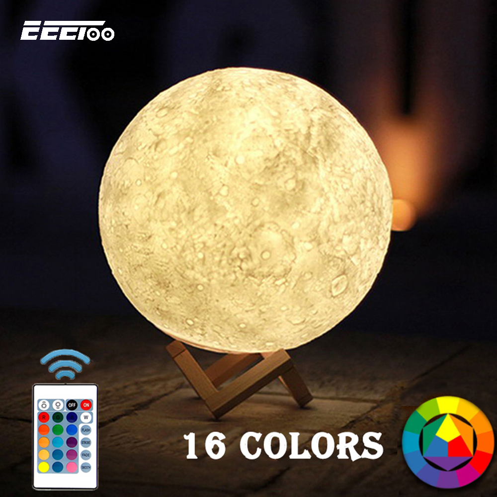 Lights & Lighting Led Under Cabinet Light Luminaria 3d Printing Moon Lamp Colorful Change Touch Remote Control Creative For Christmas
