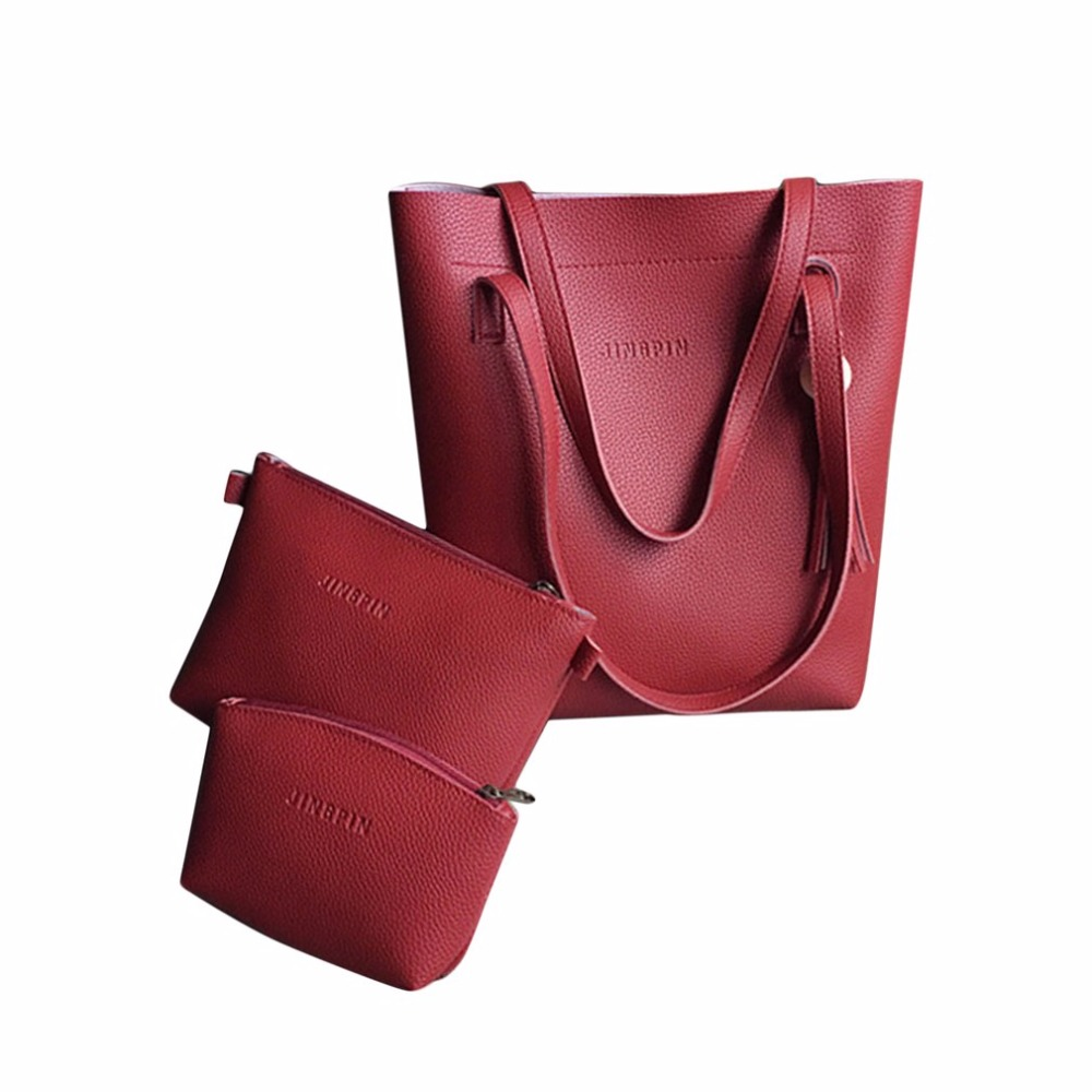 Fashion Women 3 in 1 PU Leather Bag Set Tassel Casual Handbag Tote Bag Shoulder Bag Ingenious Design Sling Pouch Coin Bag
