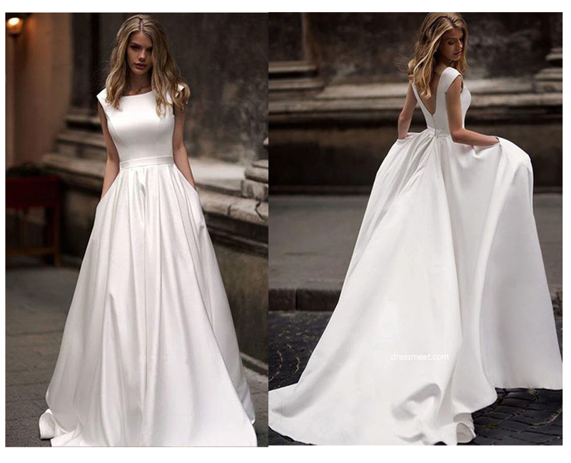 Lorie Wedding Dresses With Pocket 2019 Vestido de novia Satin White Sleeveless Bridal Gowns Floor Length Wedding Gown