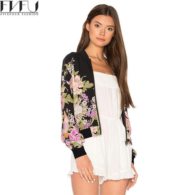 New 2018 Fashion Jacket Women Spring Autumn Vintage Flowers Bomber Jacket  Streetwear High Quality Casual Bomber 72185dd7b9