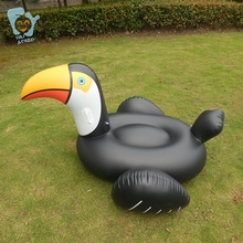 Купить с кэшбэком 2016 Summer Water Toy Swimming Ring 150 59inch Inflatable Ridable Black Toucan Pool Floats Air Mattress Floating Bed