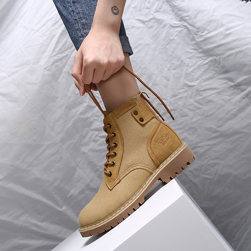 312a455ca72 Women Winter Ankle Motorcycle Boots Shoes Cowboy Canvas Military Boots  Chaussure Femme Lace Up Hunter Solider Boots Woman A8329