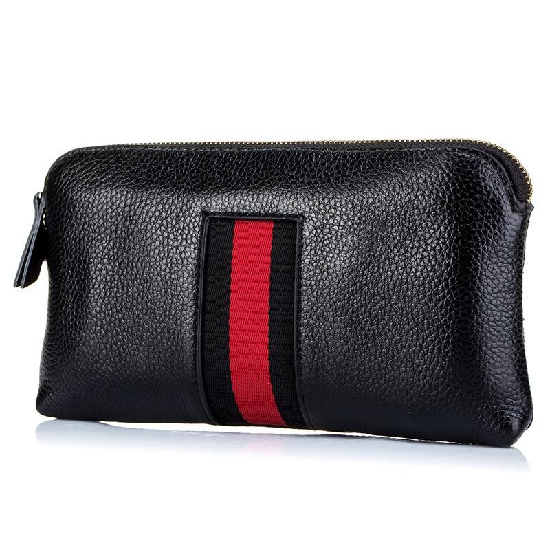 Fashion Genuine Leather Women Day Clutches Bags Lady Zipper Handbag Cowhide Casual Pouch Case Wrist Bag For Girls Bolsa Feminina