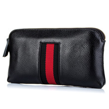 Fashion Genuine Leather Women Day Clutches Bags Lady Zipper