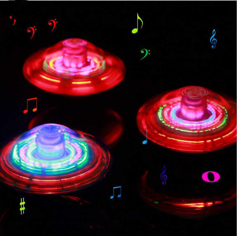 חשמלי גירוסקופ לייזר צבע פלאש LED אור צעצוע מוסיקה ג 'יירו Peg-למעלה ספינר ספינינג צעצועים קלאסיים חם למכור ילדים צעצוע