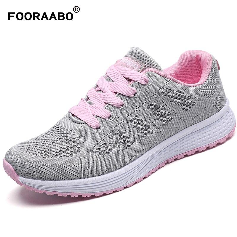 Fooraabo 2018 Spring Zapatillas Mujer Fashion Women Sneakers Casual Shoes Female Woman Shoes Black Flats Unisex Tenis Feminino