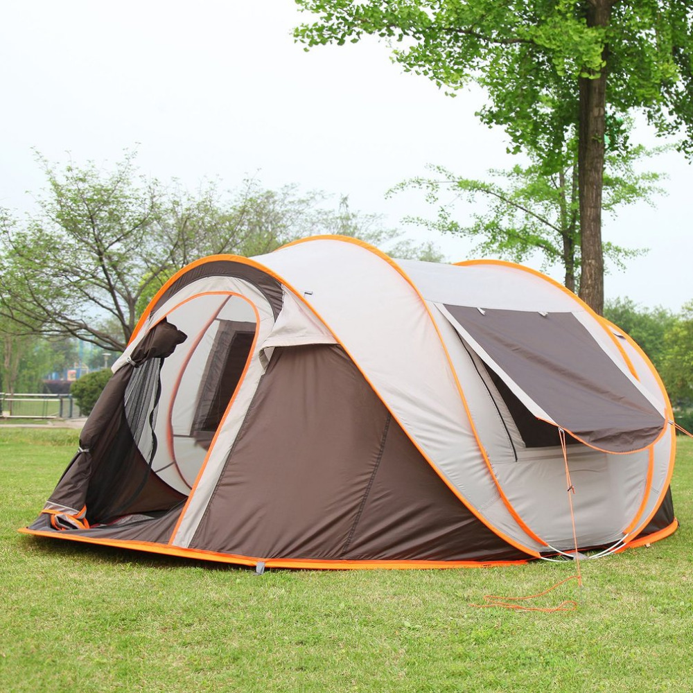 Outdoor 3-4 Persons Automatic Speed Open Throwing Pop Up Windproof Waterproof Beach Camping Tent Large Space Free Dropshipping