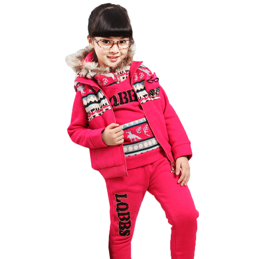 New 2017 Winter Kids Clothes Top Thick Warm Cotton Girls Clothing Sets Hoodie & Vest & Pant 3 Piece Fashion Girl Set Outfits dhl equick ems shipping 6 sets girls clothing sets lots fashion kids clothing sets 2017 top jean pant 2pcs girls clothes sets