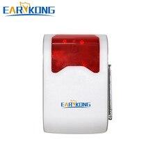 Flash Strobe Sirene 433 mhz sem fio com LED exibir o número do alarme da zona, de Longa Distância de Trabalho E Voz