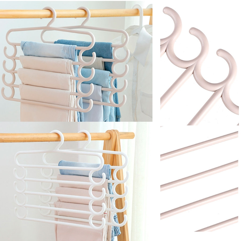 Five-layer Pants Hanger Clothes Apparel Holder Towel Tie Scarf Rack Space Saving