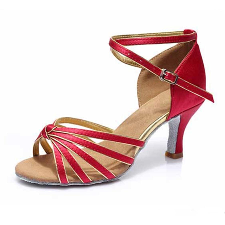 Wine Red Satin Latin Dance Shoes Woman Salsa Ballroom Zapatos De Baile Latino Mujer Free Shipping