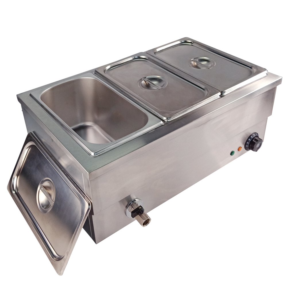 Electric Soup Pool Commercial Insulation Deep Soup Stove Commercial Bain Marie Food Warmer Equipment With 3 Pan Warmer