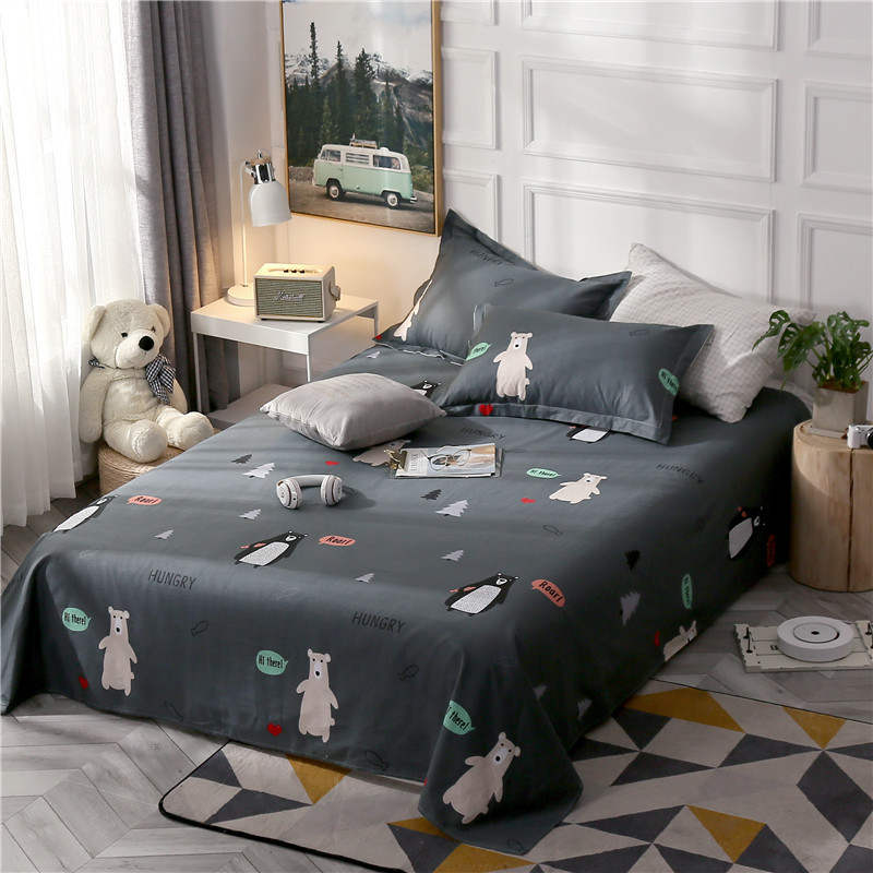 15 Styles Of Optional Bedding Cartoon Bear Print Three-Piece Simple And Elegant 100% Cotton Sheets And Pillowcase Bedding