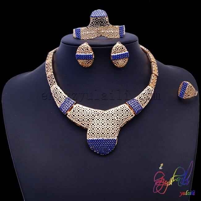 2017 livraison gratuite américaine en gros évider ensembles de bijoux de perles pour les femmes ensembles de bijoux couleur or