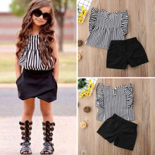 Toddler Kids Baby Girl clothes Striped Tops Blouse+ Shorts S