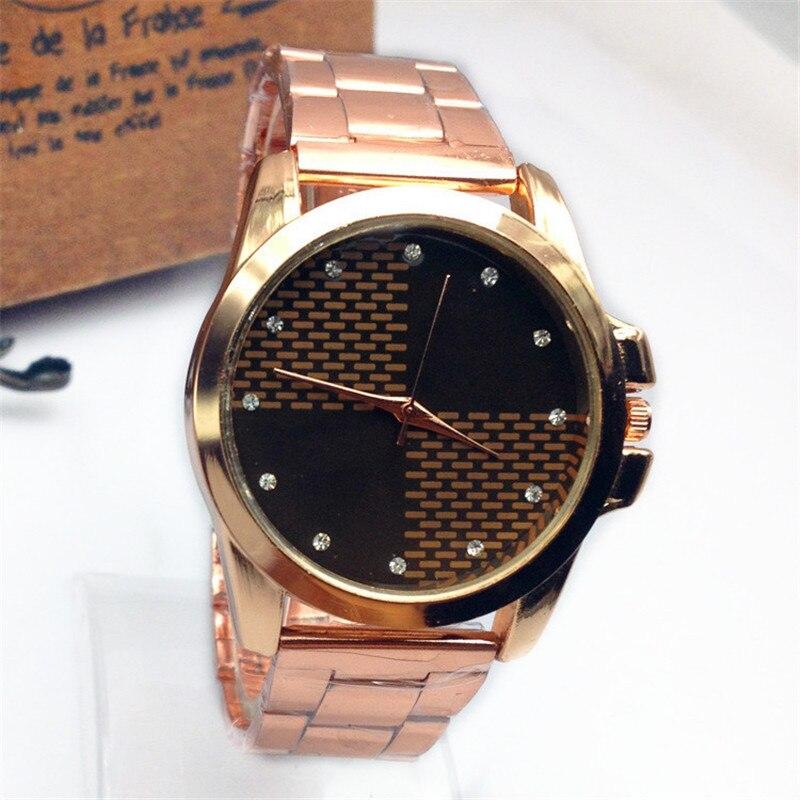 de85be3febe2 2018 reloj para hombre de oro rosa de acero inoxidable relojes de las  mujeres de lujo Faux cuarzo señoras reloj de oro hombres mujeres cristales  reloj