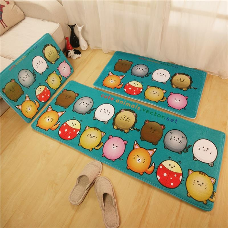 3 sizesset cartoon cat kitchen mat quality velvet kitchen rug home doormat antislip bathroom carpet - Bathroom Carpet