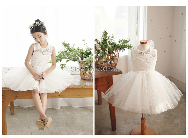 Free shipping Sleeveless High Quality Baby girl summer Lace Ball gowns  Wedding Dress with crystal Necklace Children s Lace dress d789f538b72c