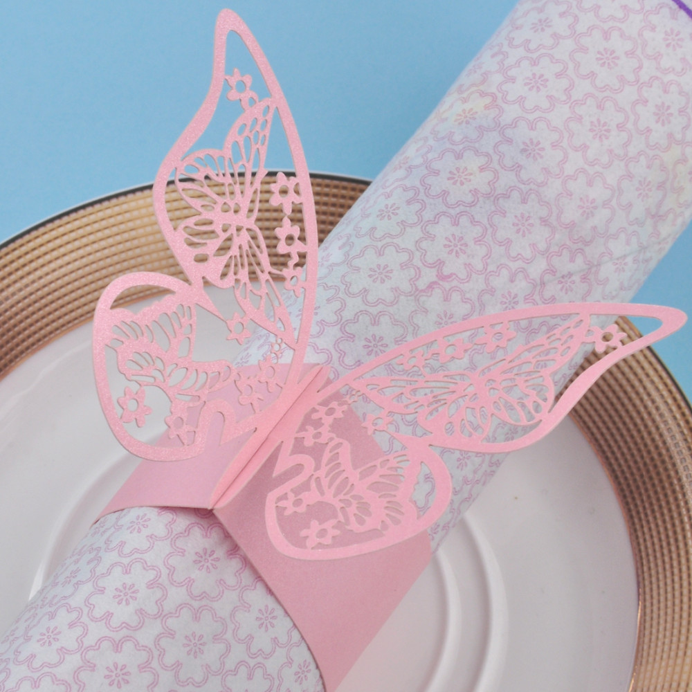 100pcs laser Cut Hollow Butterfly Napkin Buckles Paper Napkin Rings ...