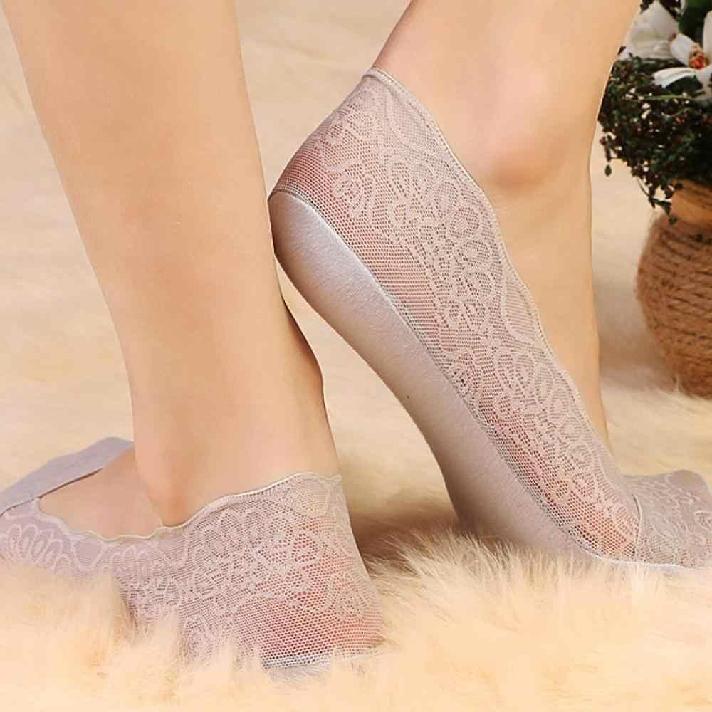 1 çift moda kadın çorap yaz bayan pamuk dantel kısa ayak bileği çorap Antiskid görünmez düşük kesim çorap 2019 yeni 12 stil