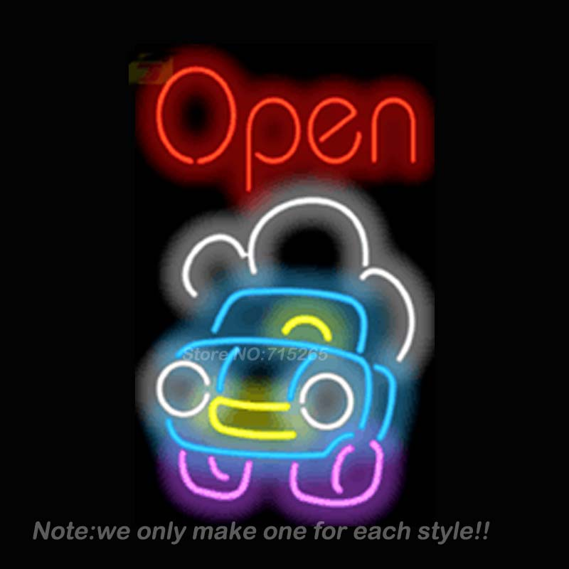 Open with Car Neon Sign Recreation Room Art Design Signs Real Glass Tube Handcraft Neon Bulbs Store Display Gift 30x20